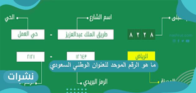ما هو الرقم الموحد للعنوان الوطني السعودي