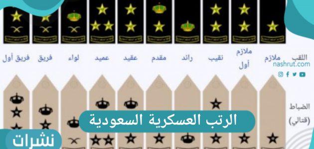 ما هي الرتب العسكرية السعودية بالترتيب للضباط والأفراد