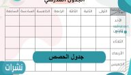 جدول الحصص… التعليمات الخاصة بوضع الجدول المدرسي